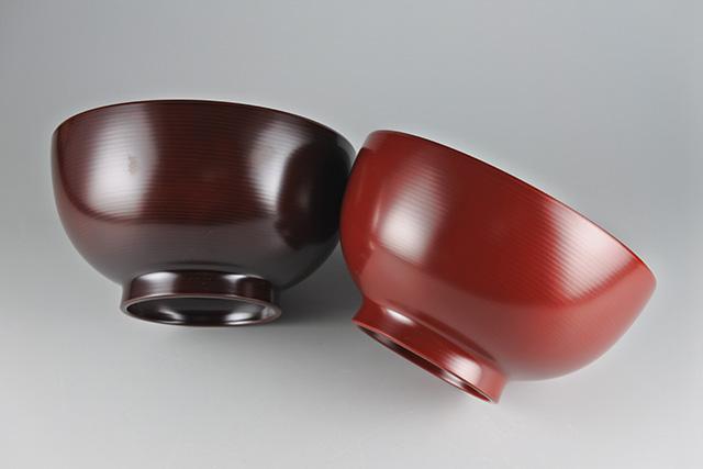【山中塗】木乾 波筋汁椀 直径12cm×高さ6.5cm 250cc 普段使いのみそ汁椀